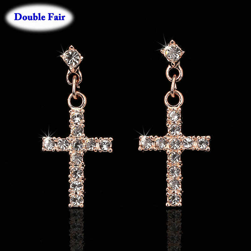 Cubic Zirconia Cross Drop/Dangle Earrings Rose Gold Color/Silver Tone Fashion Jewelry For Women Wholesale Punk Style DWE328