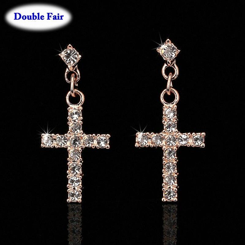 Cubic Zirconia Cross Drop/Dangle Earrings Rose Gold Silver Colour Fashion Jewelry For Women Wholesale Punk Style DWE328()