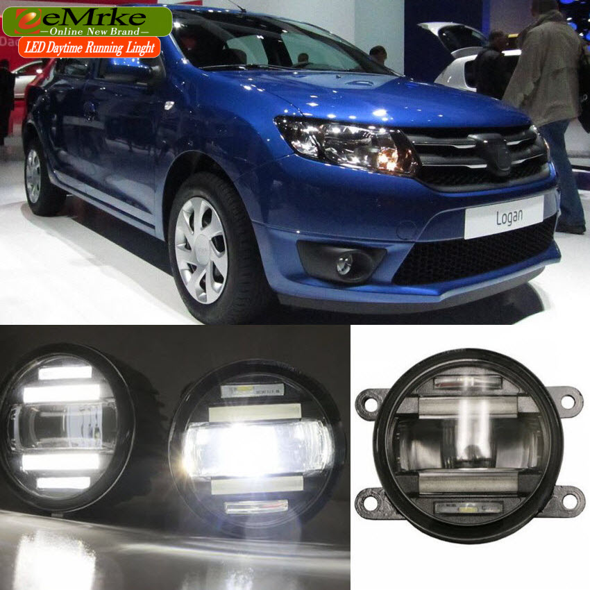 eeMrke Car Styling For Dacia Logan i ii 1 2 2004- 2 in 1 Multifunction LED Fog Lights DRL With Lens Daytime Running Lights