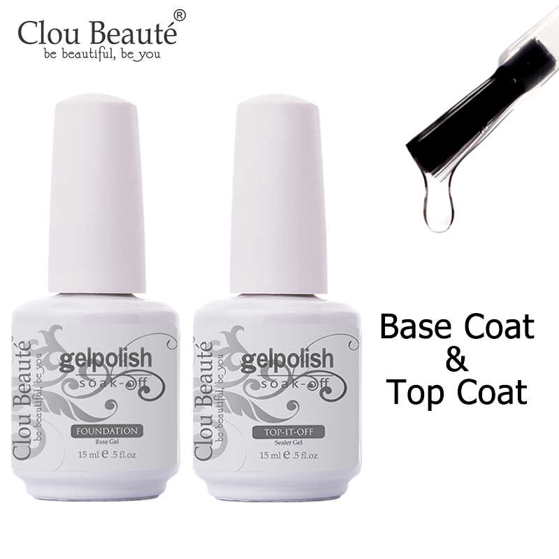 Clou Beaute Gel Nagellak 15Ml Base Foundation En Geen Veeg Top Jas Transparante Primer Losweken Lak Rose goud Vernis