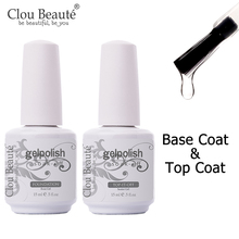Clou Beaute Gel Nail Polish 15ml Base Foundation and No Wipe Top Coat Transparent Primer Soak off Lacquer Rose Gold Varnish