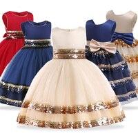 Детские платья для девочек, свадебное платье, элегантное детское вечернее платье принцессы, платье с цветочным узором для маленьких девоче...