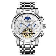 SOLLEN 41 мм ААА автоматические механические часы бизнес-мужчины часы полый стали водонепроницаемый мужской стол световой многофункциональный