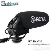 BOYA BY-BM3030 On-Camera Shotgun Microphone 3.5mm Super-Cardioid Video Mic for Canon Nikon Sony SLR Cameras Video Audio Recorder цена в Москве и Питере