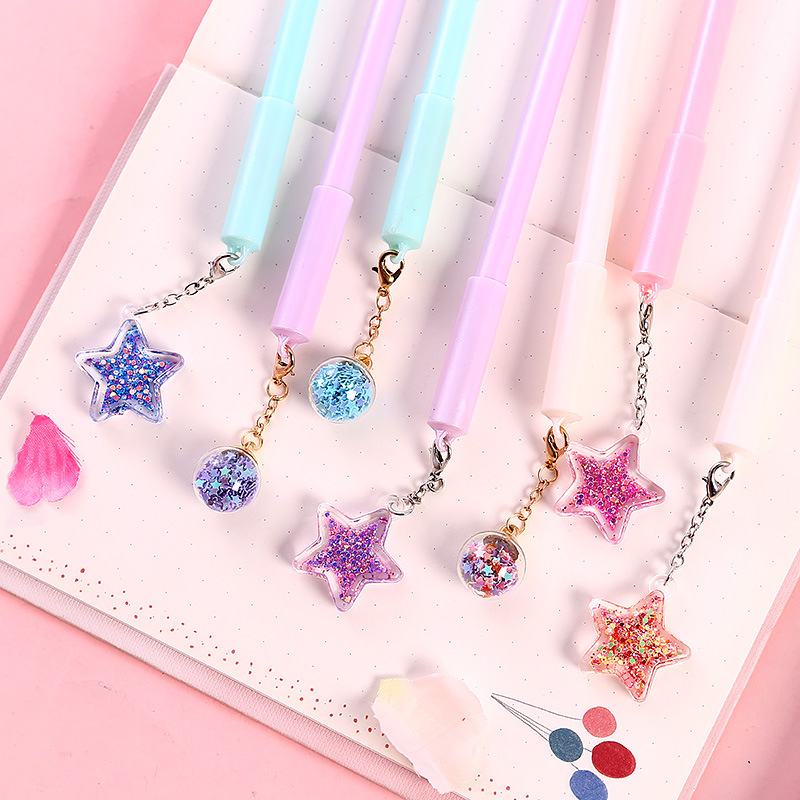 2 Pcs/lot Star Wind Chime Pendant Gel Ink Pen Promotional Gift Stationery School & Office Supply Birthday Gift
