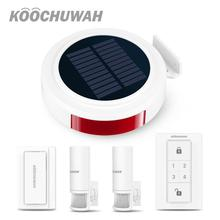 KOOCHUWAH Hosa Wireless Solar Siren GSM Wireless Relay Alarm Monitoring Motion Detector 2G Security Kit Alarm GSM Auto SMS Call все цены