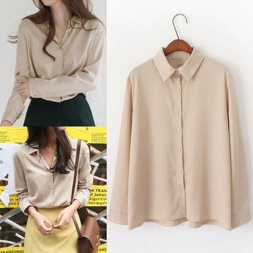 bcc2d3c93f70cc TingYiLi Women Blouses Autumn Long Sleeve Khaki Blouse Shirt Korean Fashion Ladies  Tops