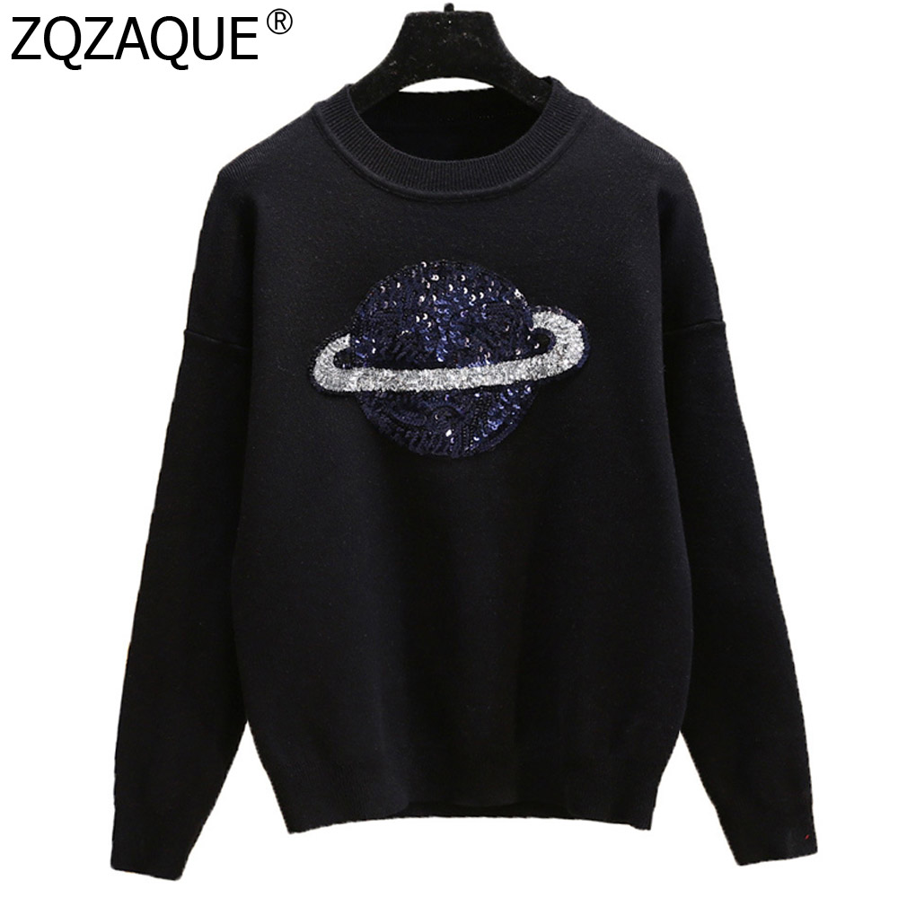 Casual Loose New Designer Women Knit Tops Shining Sequined Outer Space Pattern Good Quality Sweaters All match Knitwears SY1869