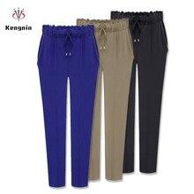 Осень Европейский Стиль Повседневное свободные стретчевые Для женщин Palazzo шаровары женские натяжные Спортивные штаны размера плюс M-3XL 4XL 5XL 6XL