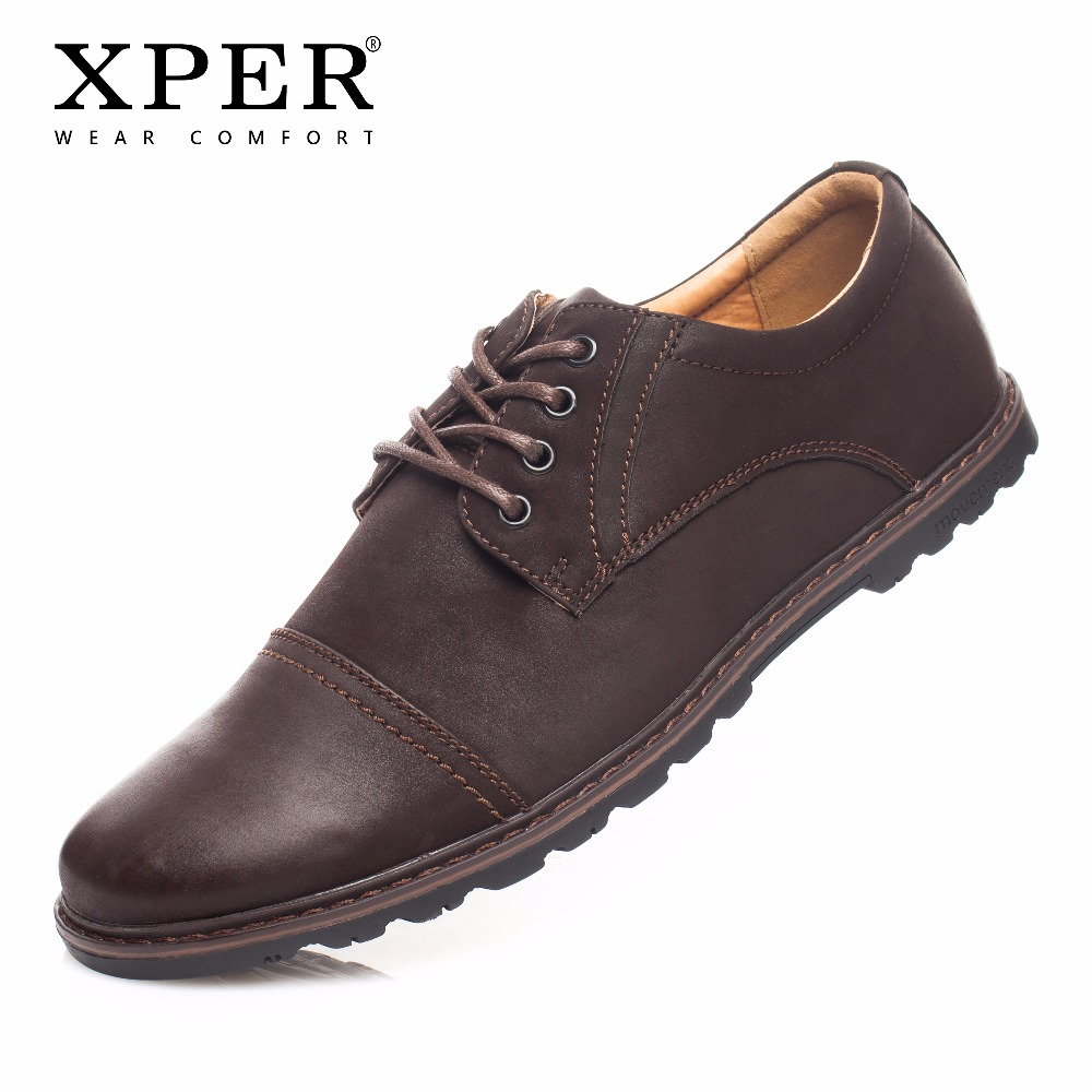 2018 XPER Brand Fashion Men Shoes Lace-up Men Casual Shoes Business Male Wear Comfortable Flat Shoes Man Work Shoes #YM86823 24 men s leather shoes vintage style casual shoes comfortable lace up flat shoes men footwears size 39 44 pa005m