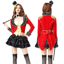 Adult Women Sexy Halloween Magician Costume Red Funny Circus Trainer  Cosplay Outfit Fancy Clothing Uniform For Girls
