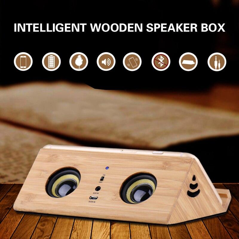 Wooden Speaker Tabletop Inductive Retro Small Audio Mini Mob