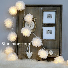 new lace ball 10led fairy lights battery operated string lights bedroom xmas home wedding christmas garland decoration