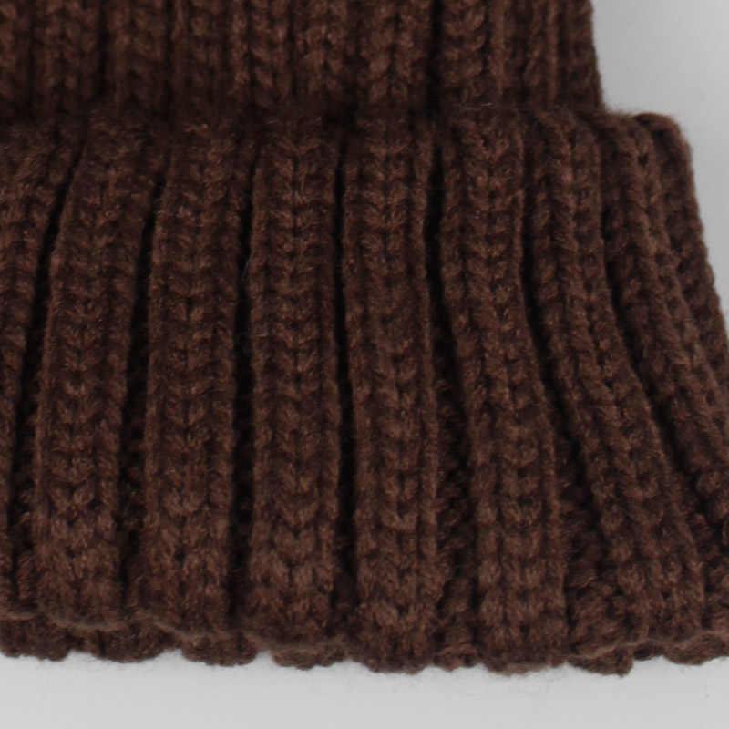 2018 chica Pom gorro pompón de lana piel Gorro con pompón y bufanda conjunto niños Real pompón Piel de mapache invierno sombrero