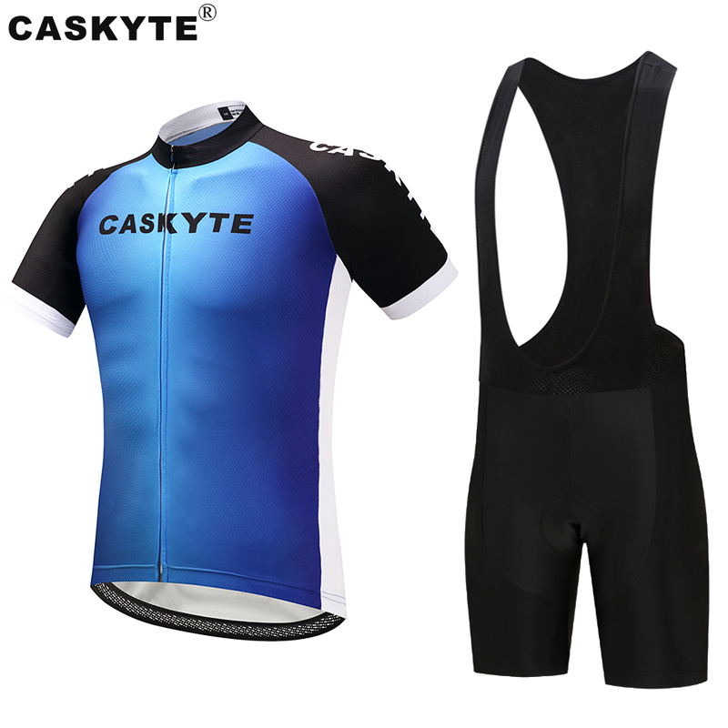 Caskyte Cycling Jersey Sets Ropa Ciclismo Full Zipper Mtb Bicycle Cycling  3D GEL Pad Cycling Jersey Blue Color 1af5ea4da