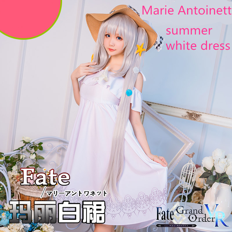 Fate/Grand Orde Cosplay FGO Marie Antoinette Joan of Arc daily white summer dress cosplay costume 1