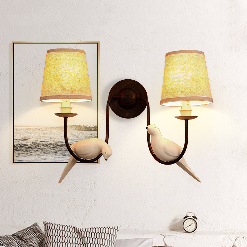 Nordic American pastoral bird wall lamp bedroom living room European-style artistic creative personality bedside cloth wall lamp american village wall lamp nordic bronze glass bird living room bedroom bedside lamp