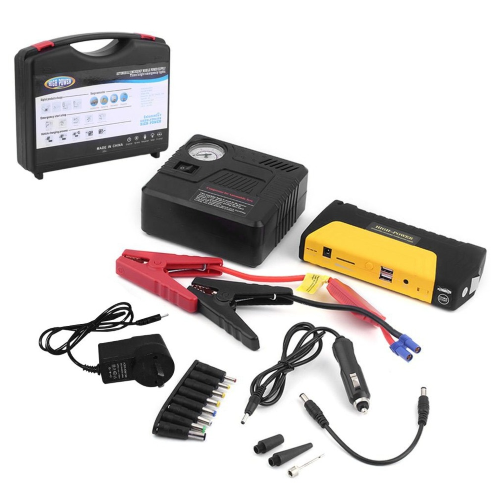 Portable Auto Engine Car Jump Starter 68800mah USB Emergency Charger Booster Power Bank Battery With Air Pump Set 68800mah 12v car emergency power supply start battery charger engine booster power bank car jump starter support fast charge