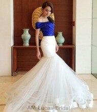 Sexy Blauen Weißen 2017 Meerjungfrau Abendkleider Formale Kleider für Hochzeit Kommunion Robe De Soiree Plus Größe Sweep zug