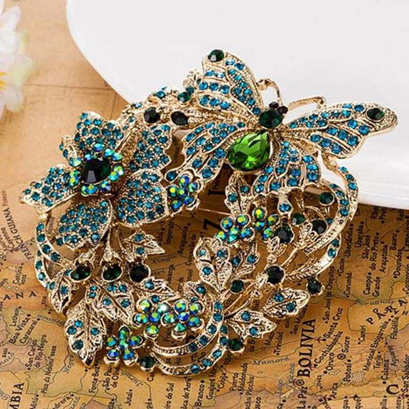 4413f0d46a4e8 Big Size Butterfly Brooches For Women Wedding Accessory Nice Flower Brooch  Pin Brand Rhinestone Crystal Hijab Pins christmas