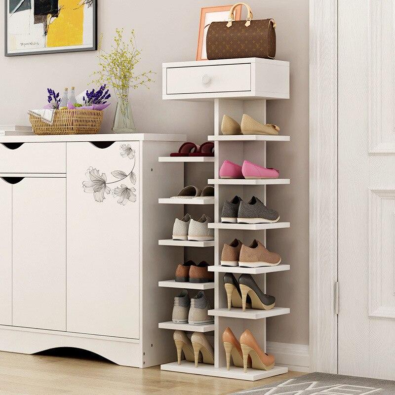 Double porte-chaussures scarpiera organisateur meubles de maison en bois estanteria para zapatos pour salon armoire à chaussures avec tiroir - 6