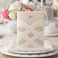100Pcs Ivory Hollow Laser Cut Wedding Invitation Card Greeting Card Personalized Custom Wedding Print Event Party