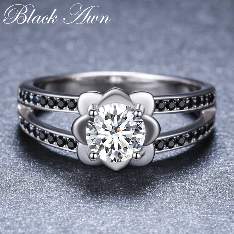 BLACK AWN 925 Sterling Silver Finger Ring Black Spinel Engagement Rings for Women Female Flower Sterling Silver Jewelry G092 in Rings from Jewelry Accessories