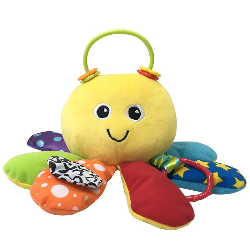 2018 новые детские игрушки детские животные погремушки коляска кровать висит милый осьминог плюшевые куклы ранние развивающие игрушки для 0 ~ 36 месяцев малыш