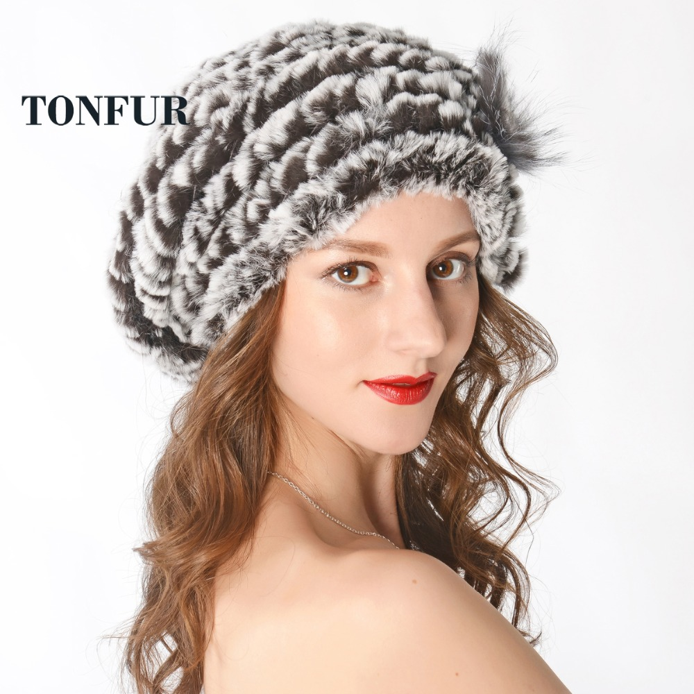 Fashion New Genuine Rex Rabbit Fur Hat Knitted Rabbit Fur Cap Real Rabbit Fur Headwear Winter Fur Cap Free Shipping TFP888