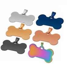 10 pcs Wholesale Bone Shape 5 Colors Men Stainless Steel Stamping Blank Dog Tags Pendant Necklace Jewelry Findings 28*50mm