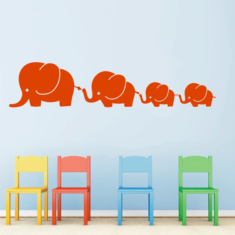Elephant Twin Nursery Wall Art Nursery Room Decor For Twins: 4 Elephant Famil With Twins Baby Elephants Nursery Vinyl