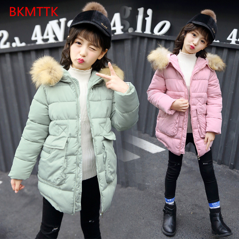 Big boy girl in cotton padded jacket new winter clothes down in the long section of thick jacket for children sky blue cloud removable hat in the long section of cotton clothing 2017 winter new woman