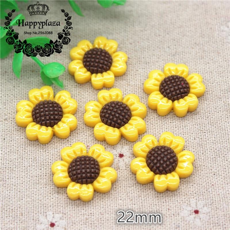 20pcs 22mm Kawaii Resin Sunflower Flatback Cabochon DIY Jewelry Phone Craft Decoration