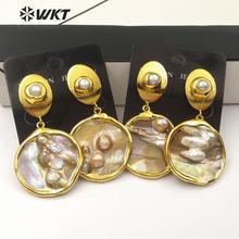 WT E528 Naturale Orecchino di Perla Dei Monili di Figura Rotonda Della Perla Orecchino di Goccia Con Oro Placcato Orecchino Delle Donne di Modo Dei Monili