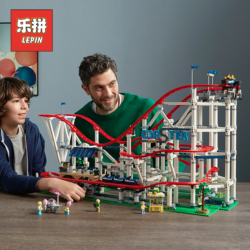 Lepin 15039 the roller Coaster Set Compatible Legoings 10261 City Modern Building Toy Large Model Blocks Bricks Kids Toys Gift a toy a dream lepin 15008 2462pcs city street creator green grocer model building kits blocks bricks compatible 10185