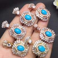Fine Jewelry Real 925 Streling Silver 100 Natural US Turquoise Gemstone Pendant Necklace Female Ring Necklace