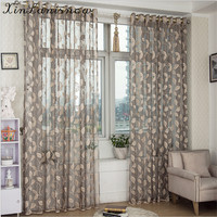 Leaves With Pervious To Light Breathable Half Shading Sitting Room Balcony Curtain Of The Bedroom Window