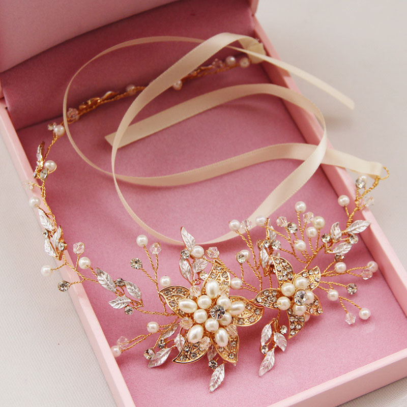 FORSEVEN Bride Noiva Wedding Party Simulated Pearl Crystal Flower Tiaras Headband Hairband Ribbon Hair Jewelry Accessories image