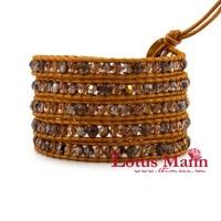 Lotusmann naturel d'or thé-couleur cristal cristal système mixte soleil indien ronde en cuir cordon bracelet