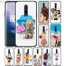 Classy Paris Girl Summer girls Phone Case for Oneplus 7 7Pro 6 6T Oneplus 7 Pro 6T Black Silicone Soft Case Cover