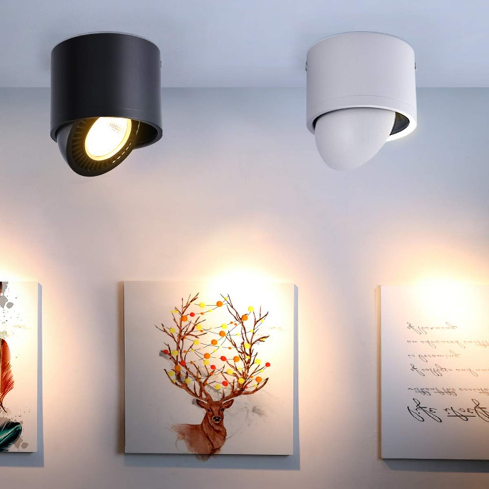 DVOLADOR Dimmbare Oberfläche Montiert LED COB Downlight 360 Grad Rotierenden LED Spot Licht 15 W/9 W/7 w/5 W Decke Lampe mit Led-treiber