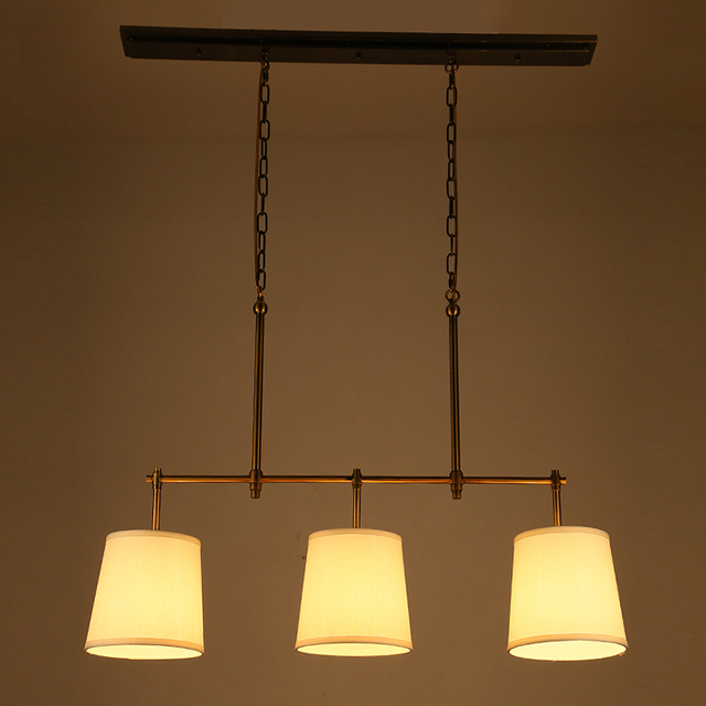 Chinese Cloth Modern French Antique Copper Pendant Light Vintage Iron Cover Bar Restaurant Living