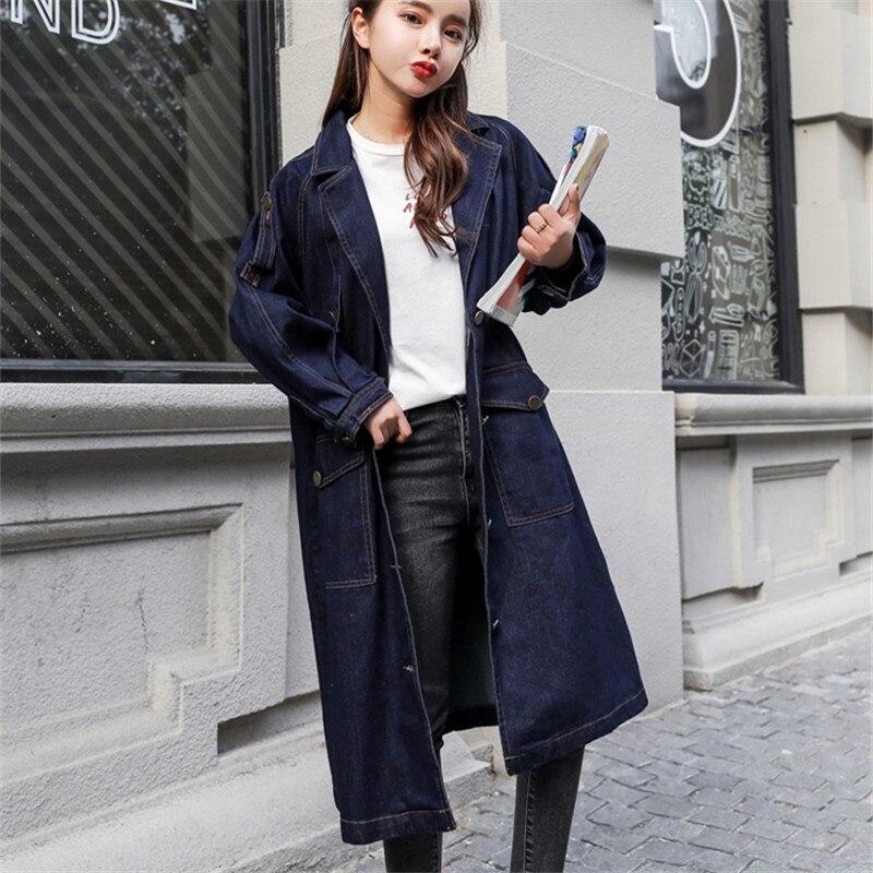Denim Plus Tranchée Blue Femelle coréen Taille Lâche Navy 2018 Printemps La Manteau Trench Nouvelle Coat Casual Lgp534 Pour Coupe Femmes Longue vent Impression U6wAzq