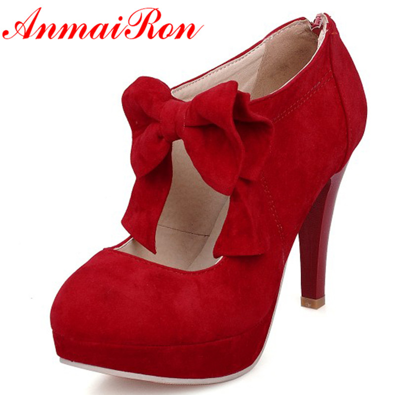 ANMAIRON Big Size Vintage Style Woman Small Bowtie Platform Pumps Ladies Sexy High Heeled Shoes Wedding Shoes for Women