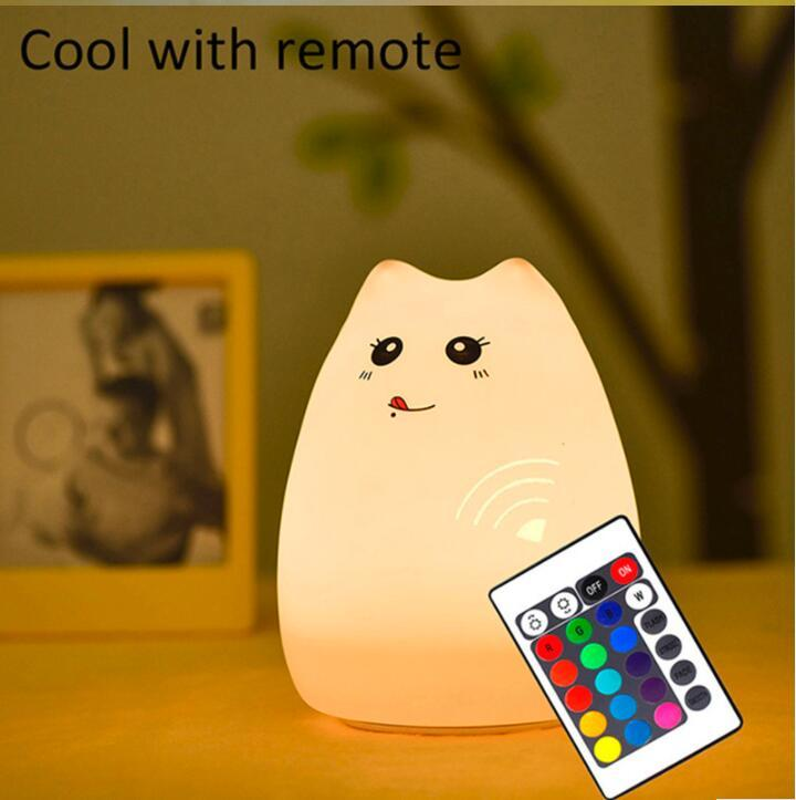 Colorful Cat Silicone LED Night Light Rechargeable Touch Sensor 2 Modes Children Cute Night Lamp Bedroom with remote switch