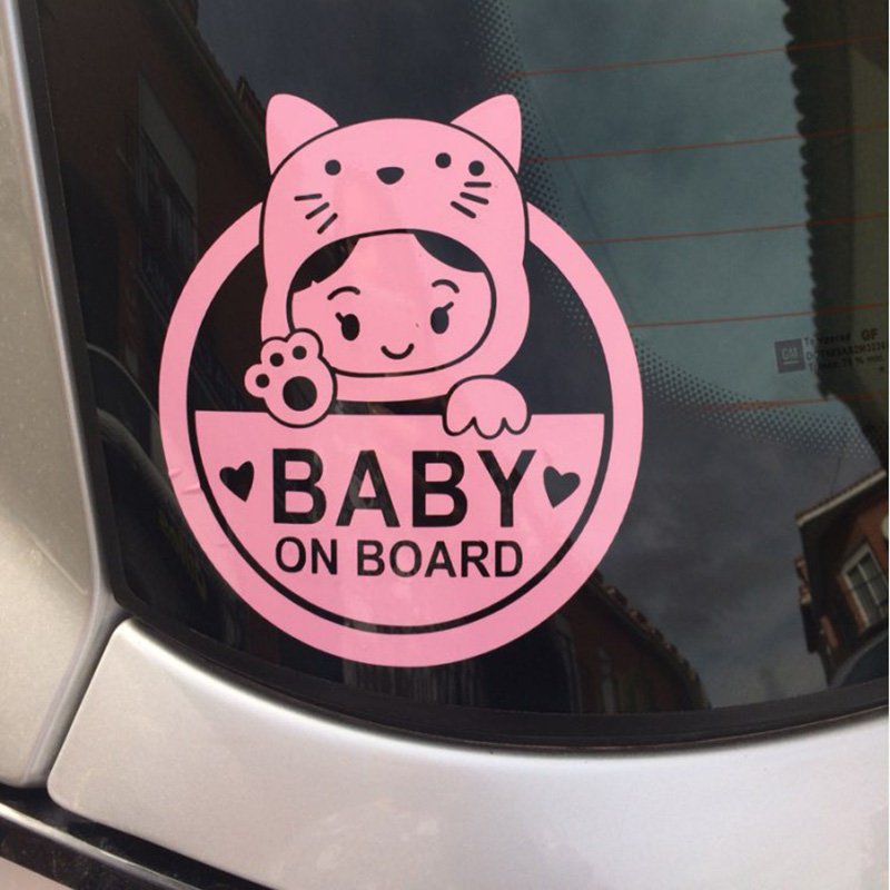 Lovely cartoon GIRL BABY ON BOARD decoration car sticker,reflective auto window tail warning stickers and decals styling glue car body sticker for toyota corolla car stickers and decals decoration protection sticker car styling auto accessories 2pcs