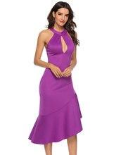 HEE GRAND Women Dresses 2019 Summer Sexy Sleeveless Long Dress Ruffles Wedding Evening Purple Night Out Party WQD935