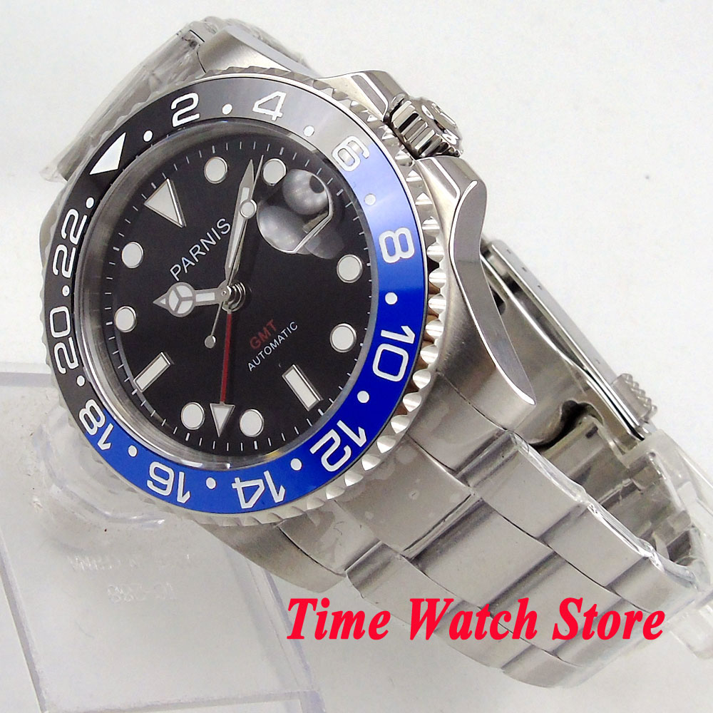 лучшая цена 40mm parnis men's watch GMT black dial luminous ceramic bezel sapphire glass automatic movement wrist watch men 1031