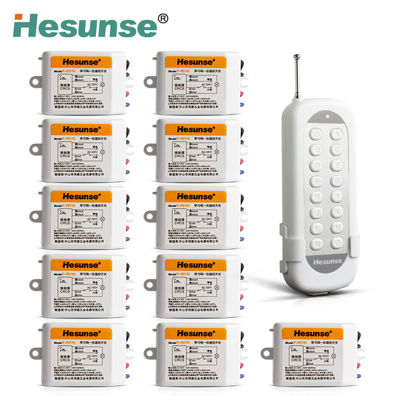 Y F211B1N11 220V 11 Channels Wireless RF Disconnect Remote Control Switch Learning Code Switch Through Walls