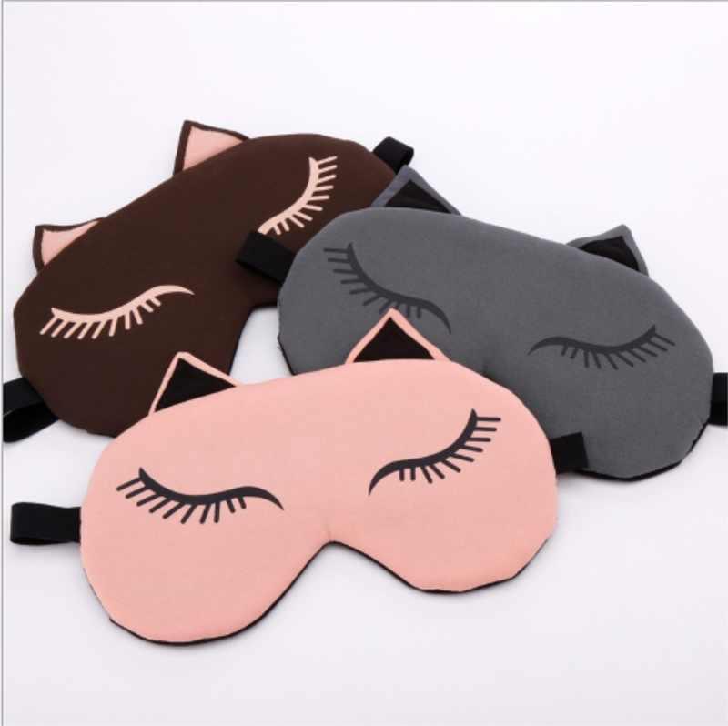 แมวน่ารัก Sleeping Eye Mask Blindfold การ์ตูนน้ำแข็งร้อนกระเป๋าการเดินทาง Sleep Aid Eye shield eyeshade บรรเทาความเมื่อยล้า/โดย dhl 200 pcs